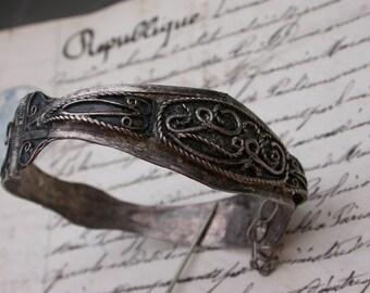 French Antique sterling silver ornate bracelet hand made bracelet solid silver  Ethnic jewelry bracelet