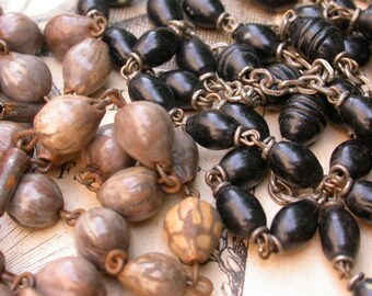 Lot 2pcs French antique large wooden seed beads  rosary religious cross crucifix ornate beads sacred heart lys flower