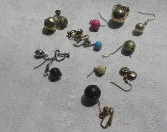 Lot Of Vintage Single Odd Dangling Beaded Earrings
