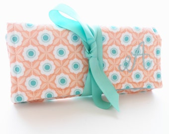 Travel Jewelry Roll Peach Aqua Floral Fabric for Travel Bridesmaid Gift