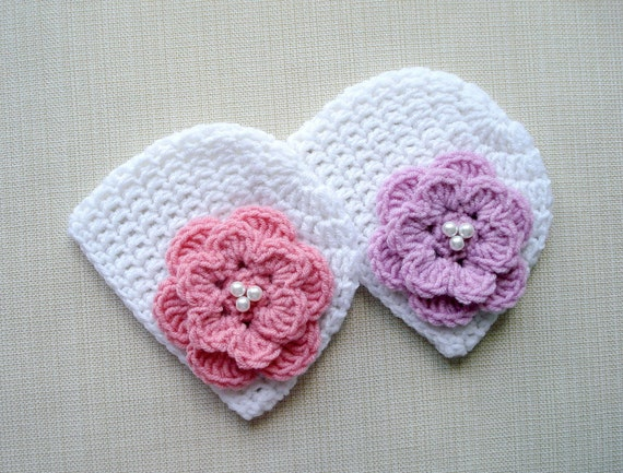 Crochet Hat Patterns For Twin Babies : Newborn twin girls hats Baby girl twins hats Crochet newborn