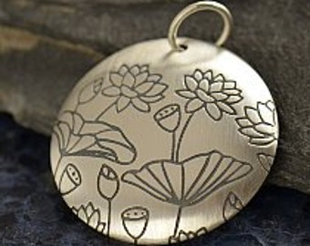 Large Round Domed Sterling Silver Pendant with Pure Lotus Print.