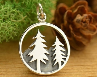 Sterling Silver Tree and Mountain Pendant