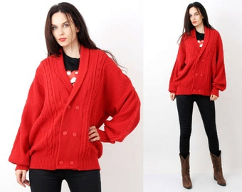 80s Red Knit Cardigan / Knit Bomber / Braided Cardigan / Oversized Cardigan / Men Cardigan / Size L