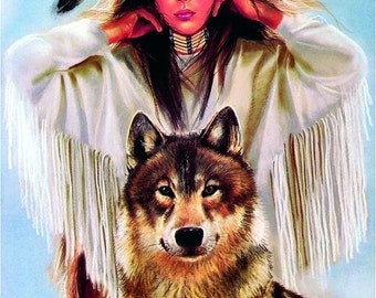 Native American Girl with Wolf Cross Stitch Pattern, Aida 14 ct. Cloth