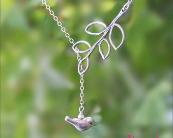 Sterling silver bird and leaf lariat necklace