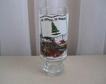 Vintage 1970's Revolutionary War Sea Battle George Washington Glass Pedestal Tumbler