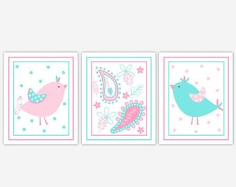 Baby Girl Nursery Wall Art Aqua Pink Blue Birds Paisley Baby Nursery Decor Girls Room Wall Decor Baby Nursery Bird Wall Decor Prints