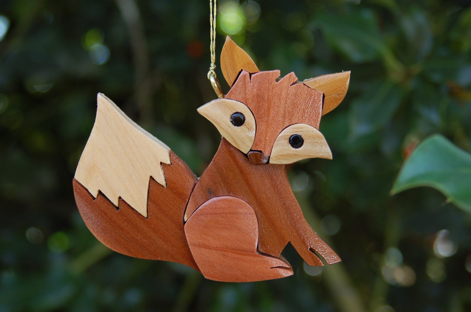 FOX CHRISTMAS ORNAMENT Intarsia Carving. A unique piece with