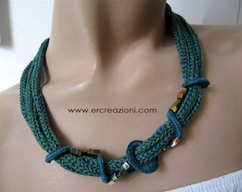 Choker necklace in blue-green cotton