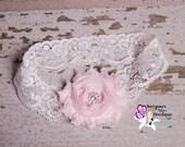 Light Pink White Shabby Flower Rhinestone Lace Headband, Newborn Headband - Baby Toddler Girl - Vintage - SB-041a