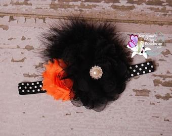 Black Orange Flower Feather Rhinestone Headband, Polka Dots, Vintage Headband, Flower Girl Headband, Fall Halloween - SB-001BO