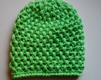 Mint green popcorn stitch slouch hat toddler