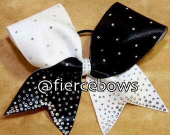 Black and White Pixie Dust Rhinestone Cheer Bow