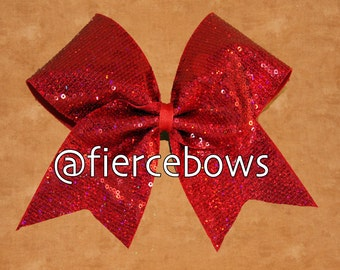 Red Holographic Sequin Cheer Bow