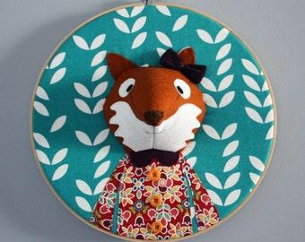 Ready made Fox embroidery hoop wall art, 3D fox portrait, 3D wall art, nursery decor, animal portrait, wall hanging, woodland themed room