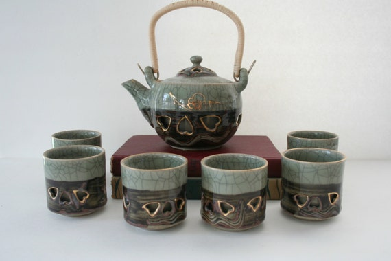 Somayaki Tea Set Otagiri Soma Ware Double Walled Teapot