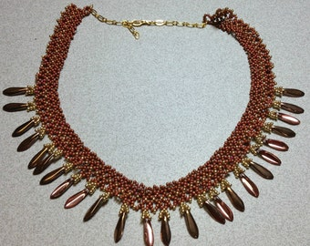 Handmade, Netted Bead Necklace Copper Colored Beads