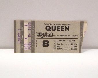 Queen Ticket Stub 1980s Vintage Band Concert Tour Myriad Oklahoma City August Freddie Mercury Brian May Roger Taylor John Deacon Glam Rock