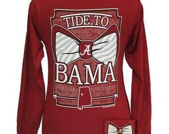 """Girlie Girl """"Tied To Bama"""" Licensed Collegiate Long Sleeve T-Shirt"""