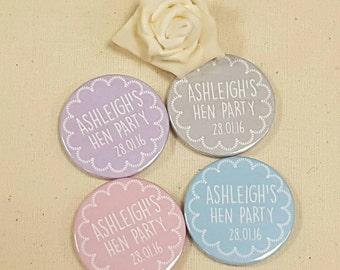 Personalised Quirky Floral Chalk Hen Party / Wedding / Team Bride Badge / wedding accessories - (or pocket Mirror)