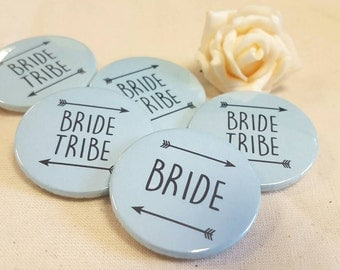 Heart Hen Do / Wedding / Team Bride / Bride Tribe Badge - mint/ green or custom colour (A Set)