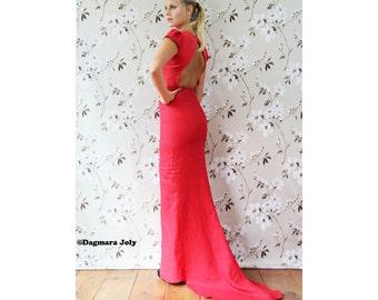Floor Length Dress, Open Back Red Dress, Maxi Dress With Cap Sleeves, Dress