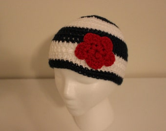 Crochet Toddler Hat, Newborn to Adult sizes, Crochet hat with Flower, Blue, White, Red