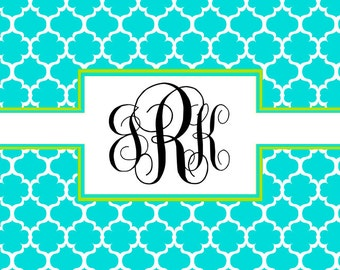 Honeycomb Pattern Stationery, Folded note card, monogram note card, Aqua, Lime Green, Personalized Stationery, Honeycomb Design
