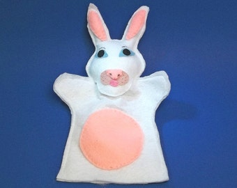 White Rabbit Felt Hand Puppet