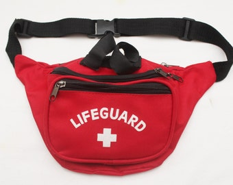 "Rare 90's Vintage ""LIFEGUARD"" Red Blue Canvas Fanny Pack"
