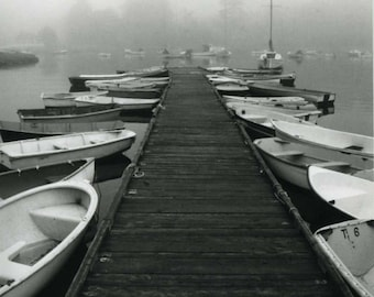 Foggy Dock with Boats, photography, wall art, black & white, boat