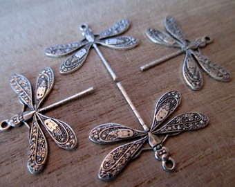2 silver dragonfly charms, dragonfly charm, silver charm, dragonfly
