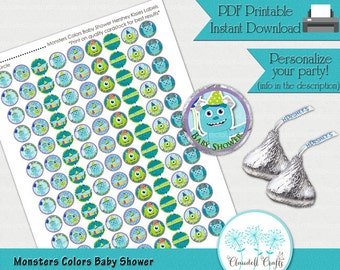 Baby Shower Monsters Colors Inspired Printable Hershey Kisses Label / Round Confetti