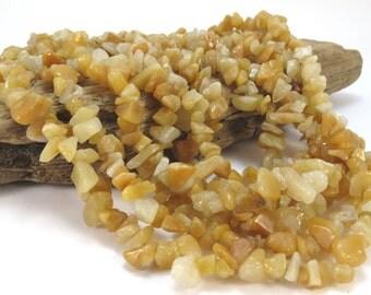 """Golden """"Jade"""" Chips, Natural 36 inch Strand Medium Chips, Item 939gs"""