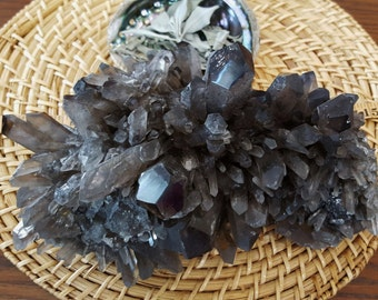Natural Smokey Quartz Cluster AA Grade ~ 1 Reiki infused crystal cluster approx 9.5 x 7.5 x 5.25 inches (E01)