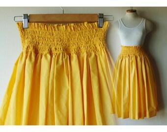 80s Gathered Skirt/ Waist 24- 25 - 26 - 27/ Elastic Waist/ Extra Small - Small/ Midi Skirt/ Sunshine Yellow Long Skirt/ Excellent Condition