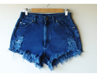 Denim Cutoffs/ Made in USA/ Waist 27 - 28 / Distressed  Shredded Frayed/ Repurposed Mom Jeans/ Women/ No Booty Showing Shorts/ Daisy Dukes