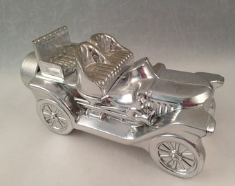 Avon Collectible Stanley Steamer Silver Car, Full of Deep Woods After Shave, Dated May 1978