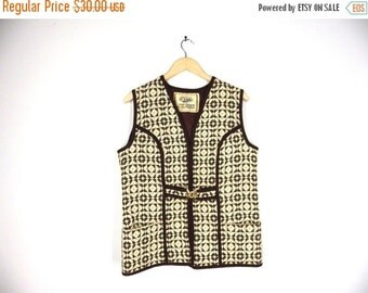 LAST CALL 60s Welsh Wool Vest, Waistcoat - Cream, Chocolate Brown Tapestry - Gold Buckle - by Dillad Corwgl / Coracle Clothes - Medium, Larg