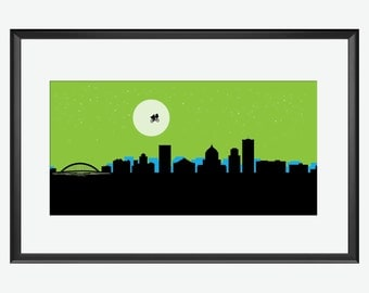 Rochester Skyline, Rochester NY, Rochester Print, Rochester art, Rochester poster, ET movie inspired, ET movie print, Et movie art, nursery