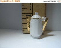 SALE Tiny Antique Bone China Pottery Pitcher Coffeepot Teapot Fancy Porcelain - French Feve Feves Figurines  Doll House Miniatures Mini H56