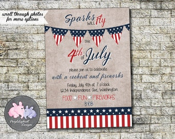 4th Of July Invitation Fireworks Patriotic Celebration Event BBQ