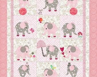 ELEPHANTS crib quilt