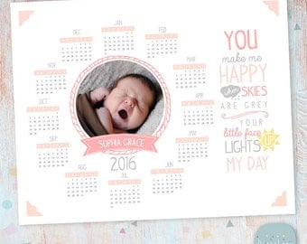 2016 Calendar Photography Template - Photoshop template - GG014 - INSTANT DOWNLOAD
