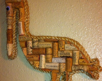 Pelican wall hanging made with real wine corks