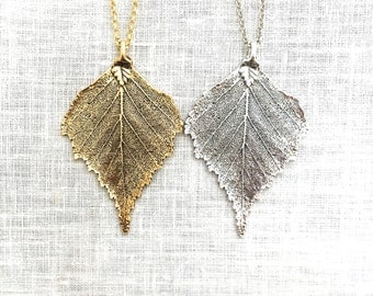 Large Leaf Pendant Necklace, Gold or Silver,  Boho Necklace, Charm Necklaces for Women, Nature Jewelry, A0077
