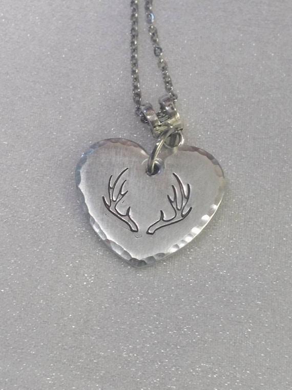 Antler Necklace - Hand Stamped - Handstamped Rack - Deer Antler Necklace - Love to Hunt - Hunting Necklace - Deer Necklace - Hunter Gift