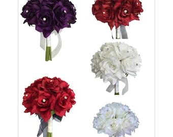 1 dozen rose bouquet-pick colors (rose with rhinestone)