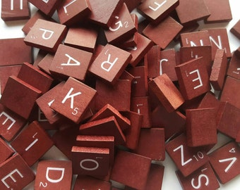 One Hundred Maroon Scrabble Tiles - Jewelry - Art and Craft Projects - Wood